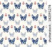 french bulldog seamless pattern | Shutterstock .eps vector #182091278