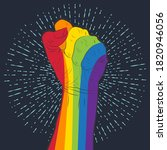 rainbow colored hand with a...   Shutterstock . vector #1820946056
