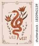 desert snake and wild flowers...   Shutterstock .eps vector #1820962139