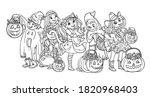 cartoon halloween horizontal... | Shutterstock .eps vector #1820968403