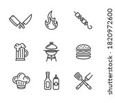 barbecue icons set. grill  bbq... | Shutterstock .eps vector #1820972600