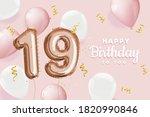 happy 19th birthday pink foil... | Shutterstock . vector #1820990846