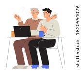 son  grandson help or teach his ... | Shutterstock .eps vector #1820994029