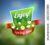 spring banner on blur landscape.... | Shutterstock .eps vector #182101580