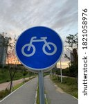 Blue Bicycle Road Sign For...