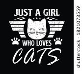 just a girl who loves cats  ... | Shutterstock .eps vector #1821073559