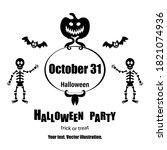vector halloween flayer. happy... | Shutterstock .eps vector #1821074936