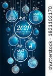 2021 happy new year  christmas... | Shutterstock . vector #1821102170