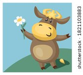 funny bull or cow  symbol of... | Shutterstock .eps vector #1821103883