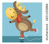 funny bull or cow in a scarf ... | Shutterstock .eps vector #1821103886