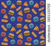 fast food patterns  vector eps... | Shutterstock .eps vector #1821133703