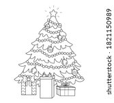 coloring page of a decorated... | Shutterstock .eps vector #1821150989