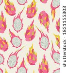 seamless pattern of pink dragon ...   Shutterstock .eps vector #1821155303
