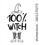 halloween sign. 100 percent... | Shutterstock .eps vector #1821170273