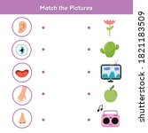 five senses matching game for... | Shutterstock .eps vector #1821183509