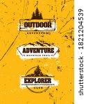 mountain trail outdoor... | Shutterstock .eps vector #1821204539