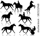 set  silhouette of horse and... | Shutterstock . vector #182121968