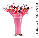 pink berry juice splash. whole... | Shutterstock .eps vector #1821227483