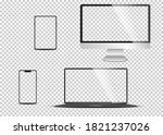 arealistic set of monitor ... | Shutterstock .eps vector #1821237026