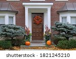 Front Door With Colorful Fall...