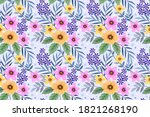 colorful hand draw flowers... | Shutterstock .eps vector #1821268190