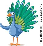 Funny Vector Cartoon Peacock...
