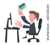 business girl using credit card ... | Shutterstock .eps vector #182136164