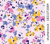 spring floral seamless pattern. ... | Shutterstock .eps vector #1821372089