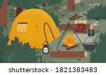 empty forest touristic camp... | Shutterstock .eps vector #1821383483