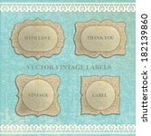 vector set  vintage labels with ... | Shutterstock .eps vector #182139860