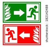 emergency exit sign | Shutterstock .eps vector #182142488