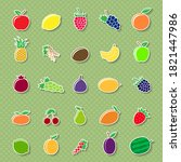 set of different fruit icons... | Shutterstock . vector #1821447986