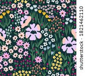 wildflowers garden on black... | Shutterstock .eps vector #1821462110