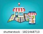 local seo. local search... | Shutterstock .eps vector #1821468713