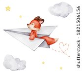 Cute Little Red Fox Flying On...