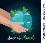 hand hold earth globe isolated...   Shutterstock .eps vector #1821529496