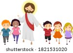 illustration of stickman kids... | Shutterstock .eps vector #1821531020