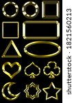 Set Of Golden Shapes Isolated...