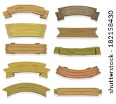 cartoon wood banners and... | Shutterstock .eps vector #182158430