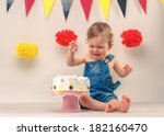 baby boy crying while eating... | Shutterstock . vector #182160470