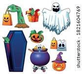 halloween sale seasonal poster... | Shutterstock .eps vector #1821604769