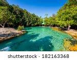 emerald pool is unseen pool in... | Shutterstock . vector #182163368