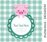cute vector piggy with frame | Shutterstock .eps vector #182164244