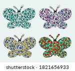 mosaic butterfly set. ceramic...   Shutterstock .eps vector #1821656933