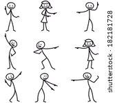set of stick figures  stickman... | Shutterstock . vector #182181728