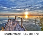 dawn clouds on the water. hdr | Shutterstock . vector #182181770