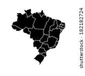 flat simple brazil map  vector... | Shutterstock .eps vector #182182724