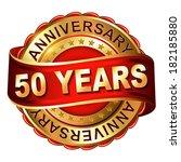 50 years anniversary golden... | Shutterstock .eps vector #182185880