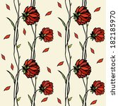illustration with red flowers. ... | Shutterstock .eps vector #182185970