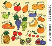 vector set with fruits icons | Shutterstock .eps vector #182188280